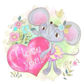 Nettes mäusemädchen mit einem großen herzen. ich liebe dich. valentine.