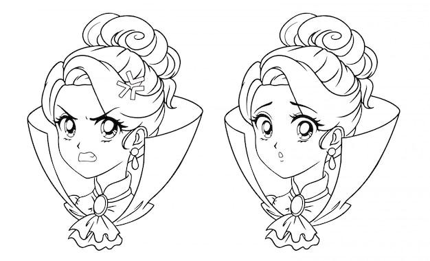 Nettes manga-vampir-mädchenporträt. zwei verschiedene ausdrücke. hand gezeichnete vektorkonturillustration des retro-anime-stils der 90er jahre. isoliert.