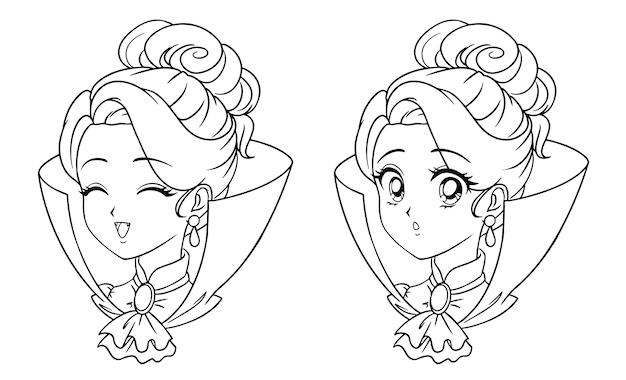 Nettes manga-vampir-mädchenporträt. zwei verschiedene ausdrücke.