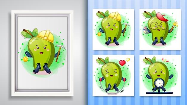 Nettes mango-illustrationsset und dekorativer rahmen.