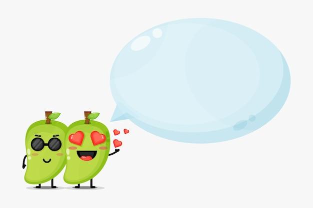 Nettes mangomaskottchen mit blasensprache