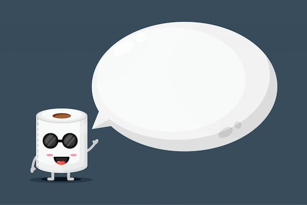 Nettes maskottchen-toilettenpapier mit blasensprache