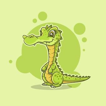 Nettes maskottchenillustrationszeichen krokodil, eidechse, alligator, karikaturmaskottchen Premium Vektoren