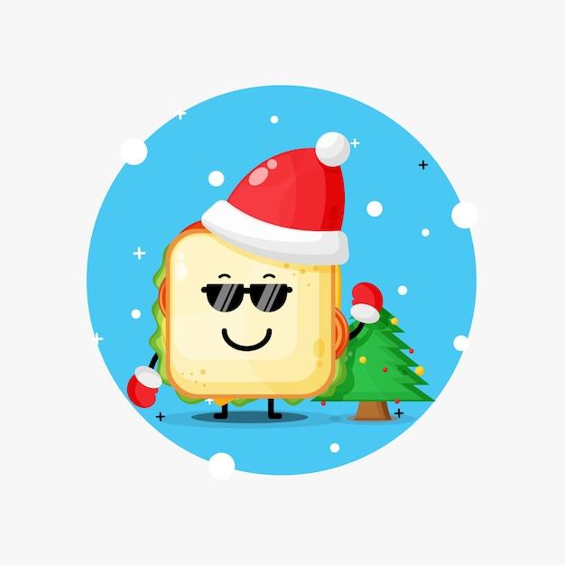 Nettes maskottchensandwich, das brille und weihnachtsmütze trägt