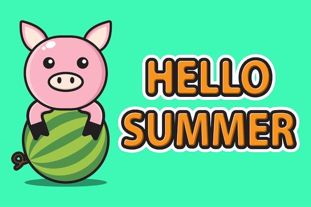 Nettes maskottchenschwein, das wassermelone mit hallo sommergrußfahne umarmt