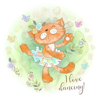 Nettes miezekatzeballerinatanzen. ich liebe es zu tanzen. inschrift.
