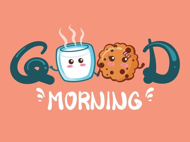 Nettes milchglas und niedliche kekse guten morgenkonzept. karikatur