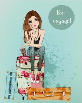 Nettes modekarikaturmädchen im skizzenhaften stil mit koffer
