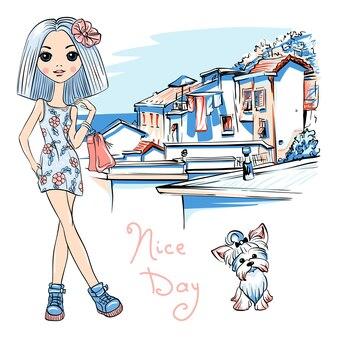 Nettes modemädchen in manarola, italien.
