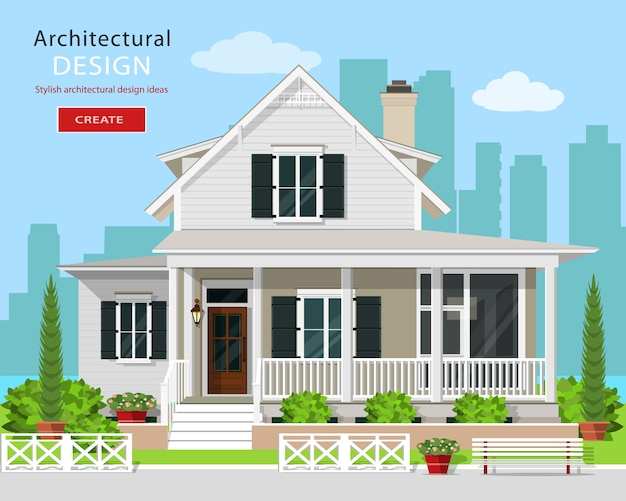 Nettes modernes grafisches häuschenhaus mit bäumen, blumen, bank und stadthintergrund. detailliertes privates hausset. flache artillustration.