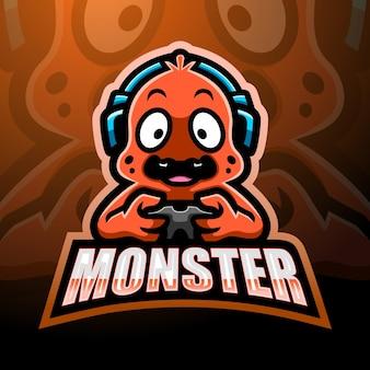 Nettes monster maskottchen logo design