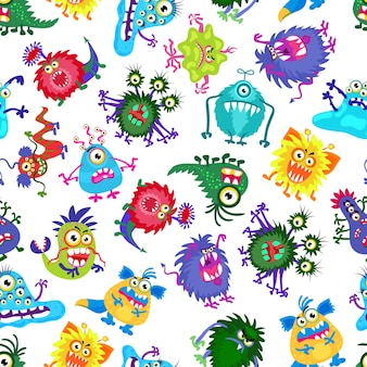 Nettes monster party kinder nahtloses muster. hintergrund mit farbigen monstern. illustration des bizarren monsters