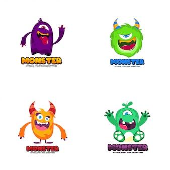 Nettes monsterlogo. monster logo charakter vorlage vektor. zeichen-logo-vorlage.