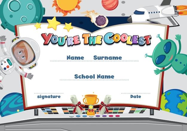 Nettes motivations-cartoon-zertifikat für kinder
