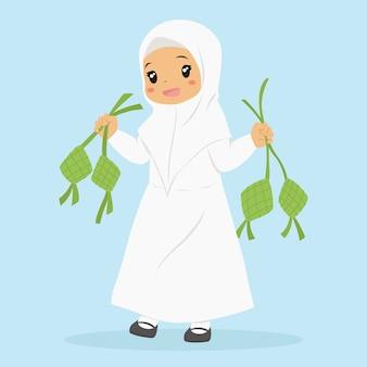 Nettes muslimisches mädchen, das ketupat hält. zeichentrickfigur der muslimischen kinder