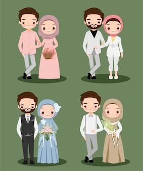 Nettes muslimisches paar, das hijab-zeichentrickfigur für hochzeit trägt