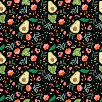 Nettes muster mit avocados, pflanze und blumen im schwarzen hintergrund.
