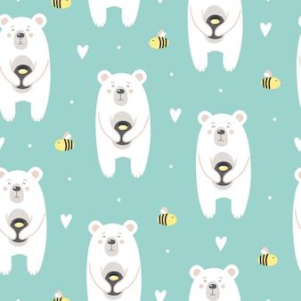 Nettes muster mit einem bären mit honig und bienen