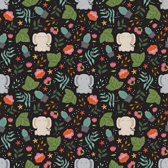 Nettes muster mit elefanten, pflanzen und blumen im schwarzen hintergrund.