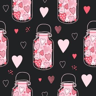 Nettes muster mit gläsern mit rosa herzen