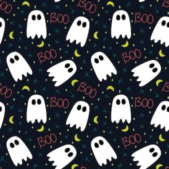 Nettes muster von halloween mit geist