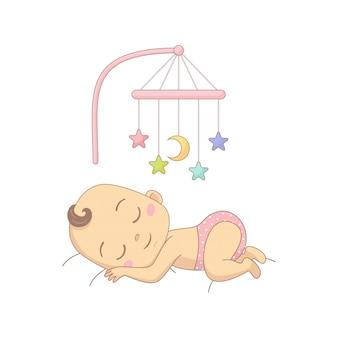 Nettes nacktes baby in einer windel, die im bett liegt und spaß mit spielzeugkarussell, bunte zeichentrickfigur hat.