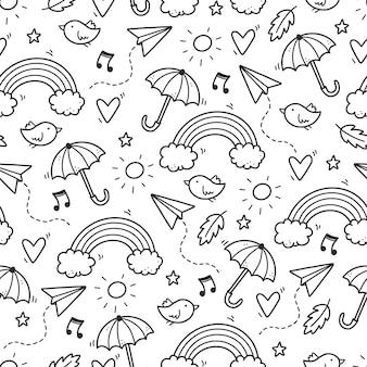 Nettes nahtloses gekritzelmuster mit wolke, regenbogen, regenschirm, sonne, sternelement. handgezeichnete linie kinderstil. doodle-hintergrund-vektor-illustration.