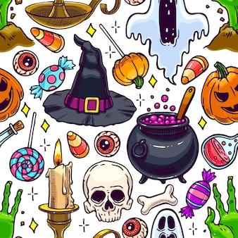 Nettes nahtloses halloween-muster der magischen attribute und der süßigkeiten. handgezeichnete illustration