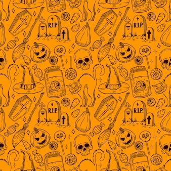 Nettes nahtloses halloween-muster der magischen attribute und der süßigkeiten