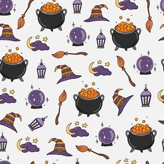 Nettes nahtloses halloween-muster mit kritzeleien