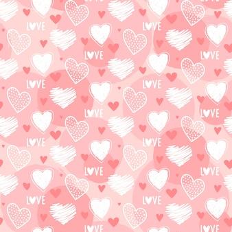 Nettes nahtloses herzmuster für valentinstag