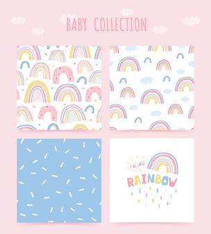 Nettes nahtloses muster der babysammlung mit regenbogen- und schriftzugplakat folgen sie dem regenbogen. hintergrund in der hand gezeichneten art für kinderzimmergestaltung.