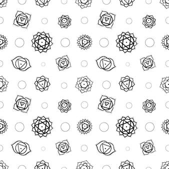 Nettes nahtloses muster der karikatur-chakren-yantras