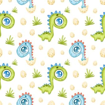 Nettes nahtloses muster der karikaturdinosaurier