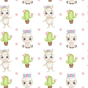Nettes nahtloses muster der karikaturlamas. baby lama mit blumen, kaktus mit herzen auf einem weißen hintergrund
