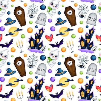 Nettes nahtloses muster der magischen karikatur halloween halloween. geist, spukhaus, sarg, grab, schädel, vollmond, fledermaus, kerzen, digitales spinnenpapier.