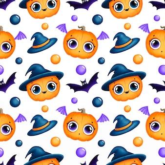 Nettes nahtloses muster der magischen karikatur halloween halloween. nahtloses muster der halloween-kürbisse.