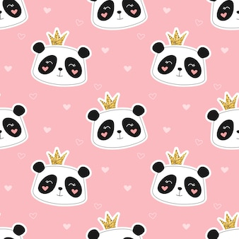 Nettes nahtloses muster der panda-prinzessin