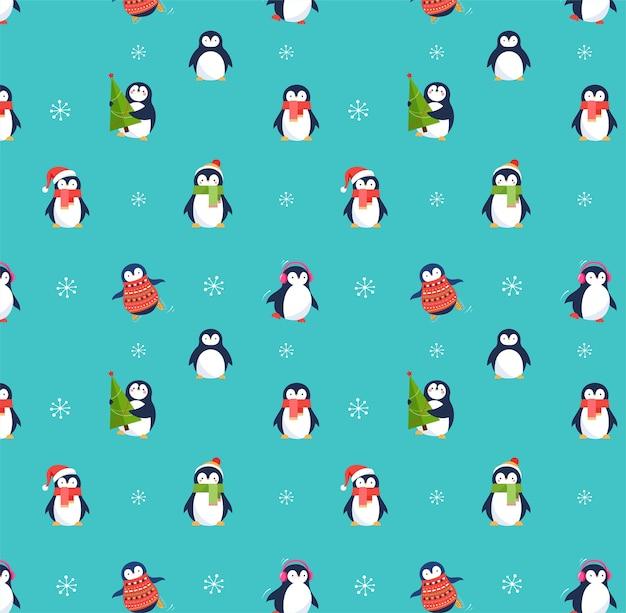 Nettes nahtloses muster der pinguine