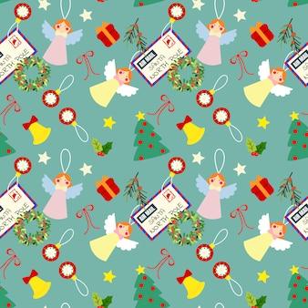 Nettes nahtloses muster der weihnachtselemente.