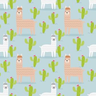 Nettes nahtloses muster des alpakas und des kaktus.