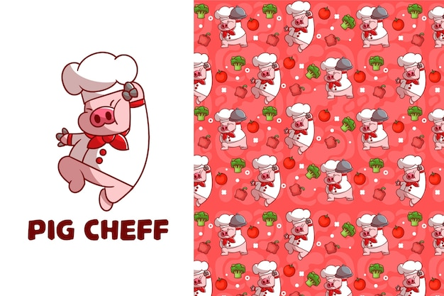 Nettes nahtloses muster des cheff-schweins