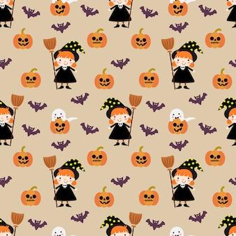 Nettes nahtloses muster des halloween-kürbises und der hexe