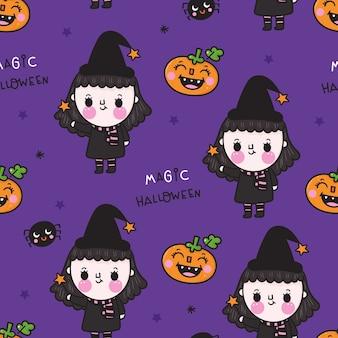 Nettes nahtloses muster des halloween-mädchens mit kürbis kawaii karikatur