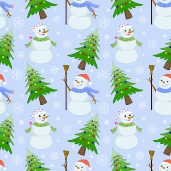 Nettes nahtloses muster des schneemannes und des weihnachtsbaums.