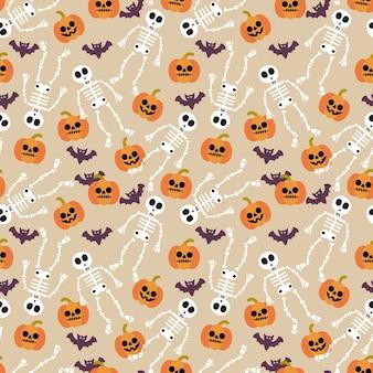 Nettes nahtloses muster des skeletts und des halloween-kürbises
