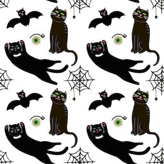 Nettes nahtloses muster des vektors für halloween. fledermaus, netz und spinne, auge andere gegenstände auf halloween-thema.