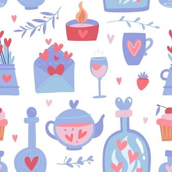 Nettes nahtloses muster für valentinstag
