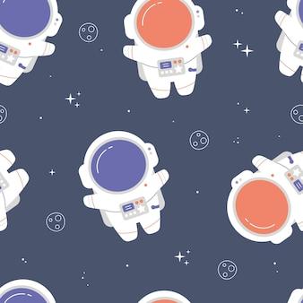Nettes nahtloses muster mit astronauten