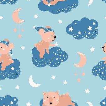 Nettes nahtloses muster mit bären auf den wolken.